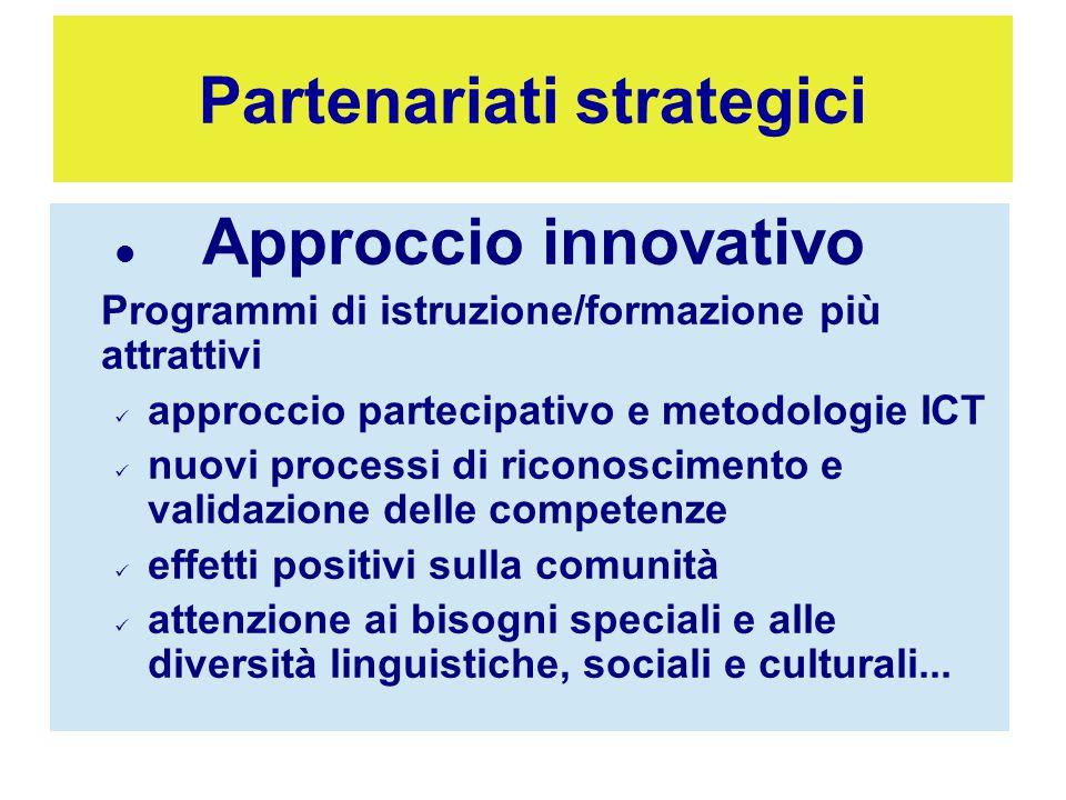 Approccio innovativo Programmi di istruzione/formazione più attrattivi approccio partecipativo e metodologie ICT nuovi processi di riconoscimento e va