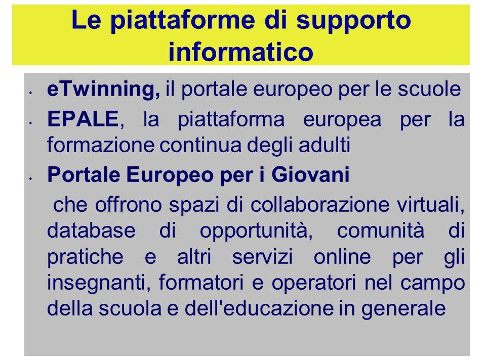 Le piattaforme di supporto informatico eTwinning, il portale europeo per le scuole EPALE, la piattaforma europea per la formazione continua degli adul