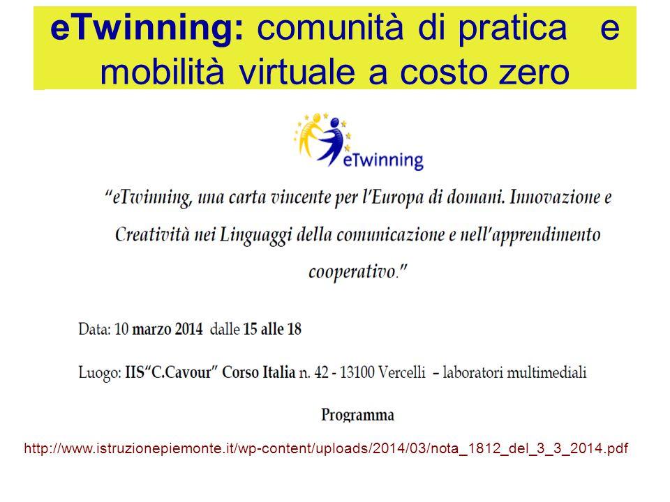 eTwinning: comunità di pratica e mobilità virtuale a costo zero http://www.istruzionepiemonte.it/wp-content/uploads/2014/03/nota_1812_del_3_3_2014.pdf