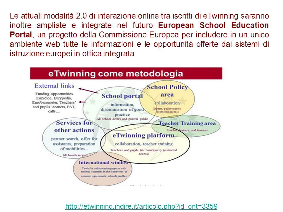 Le attuali modalità 2.0 di interazione online tra iscritti di eTwinning saranno inoltre ampliate e integrate nel futuro European School Education Port