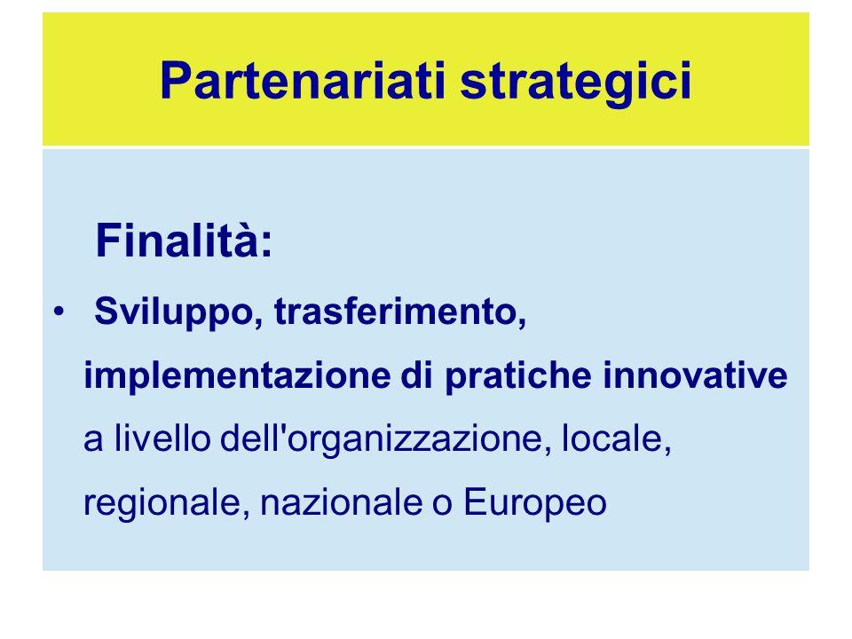 Finalità: Sviluppo, trasferimento, implementazione di pratiche innovative a livello dell'organizzazione, locale, regionale, nazionale o Europeo Parten