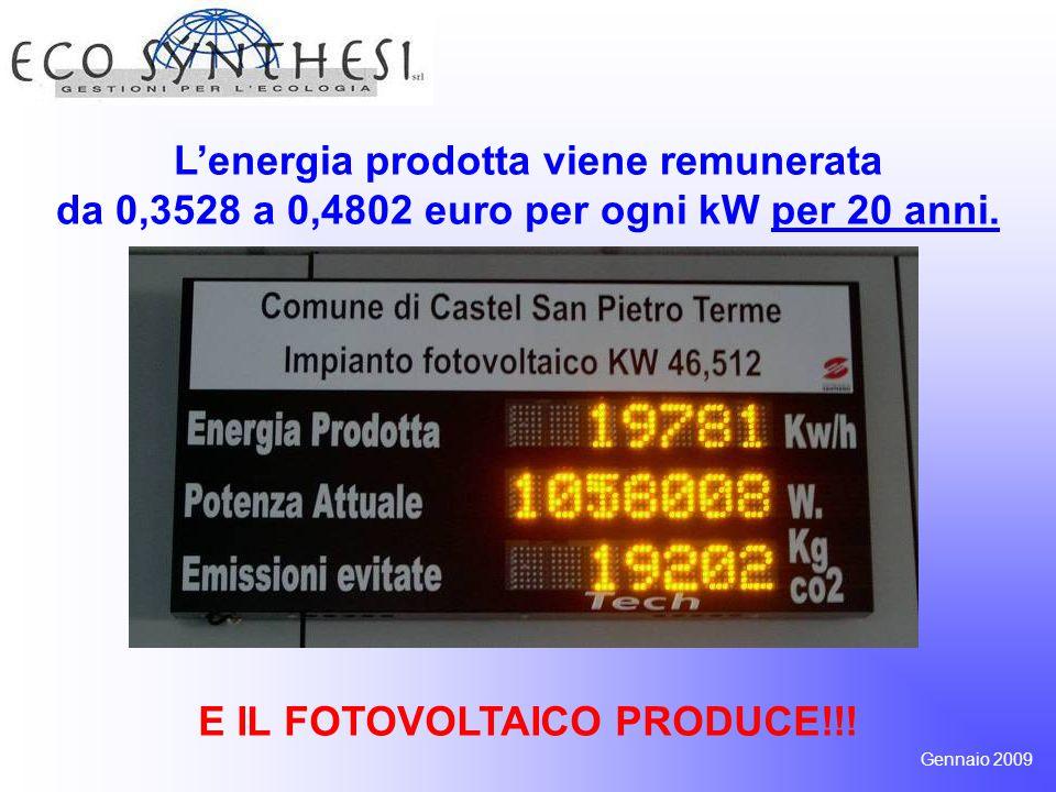 L'energia prodotta viene remunerata da 0,3528 a 0,4802 euro per ogni kW per 20 anni. E IL FOTOVOLTAICO PRODUCE!!! Gennaio 2009
