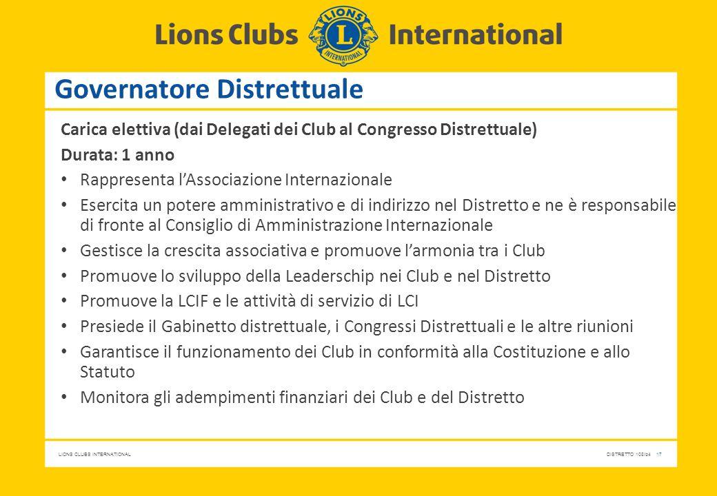 LIONS CLUBS INTERNATIONALDISTRETTO 108Ib4 17 Governatore Distrettuale Carica elettiva (dai Delegati dei Club al Congresso Distrettuale) Durata: 1 anno