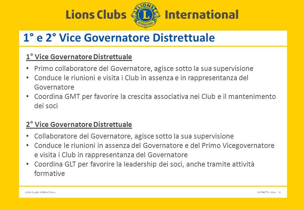 LIONS CLUBS INTERNATIONALDISTRETTO 108Ib4 18 1° e 2° Vice Governatore Distrettuale 1° Vice Governatore Distrettuale Primo collaboratore del Governator