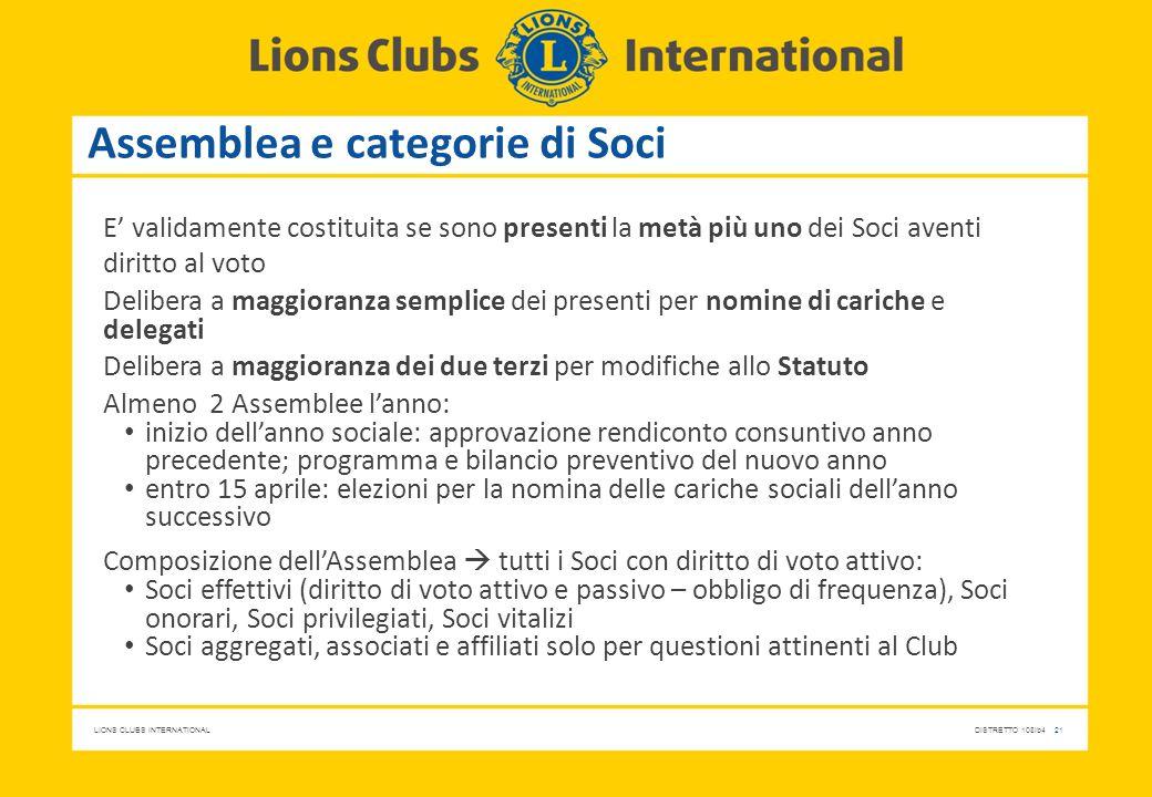LIONS CLUBS INTERNATIONALDISTRETTO 108Ib4 21 Assemblea e categorie di Soci E' validamente costituita se sono presenti la metà più uno dei Soci aventi