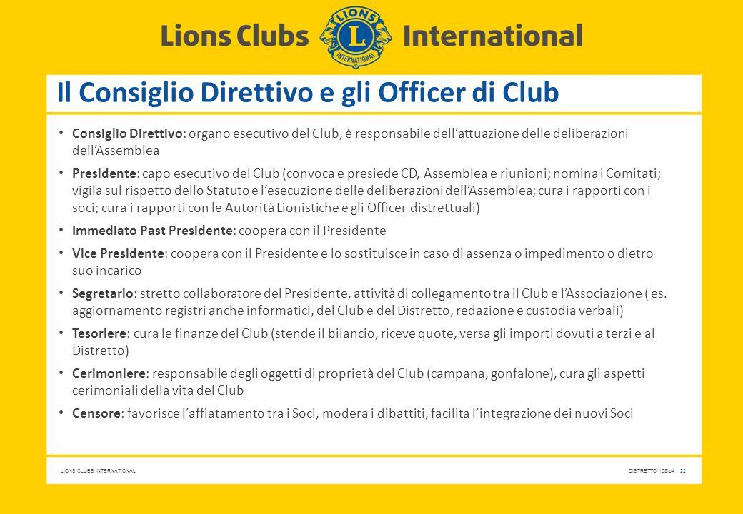 LIONS CLUBS INTERNATIONALDISTRETTO 108Ib4 22 Il Consiglio Direttivo e gli Officer di Club Consiglio Direttivo: organo esecutivo del Club, è responsabi