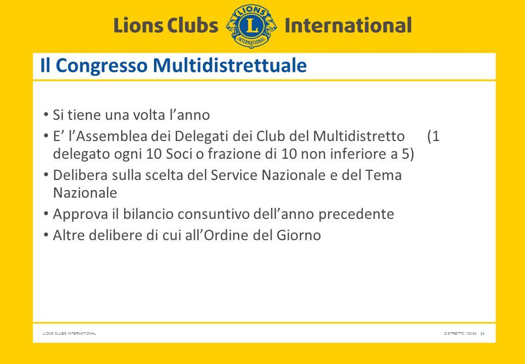 LIONS CLUBS INTERNATIONALDISTRETTO 108Ib4 24 Il Congresso Multidistrettuale Si tiene una volta l'anno E' l'Assemblea dei Delegati dei Club del Multidi