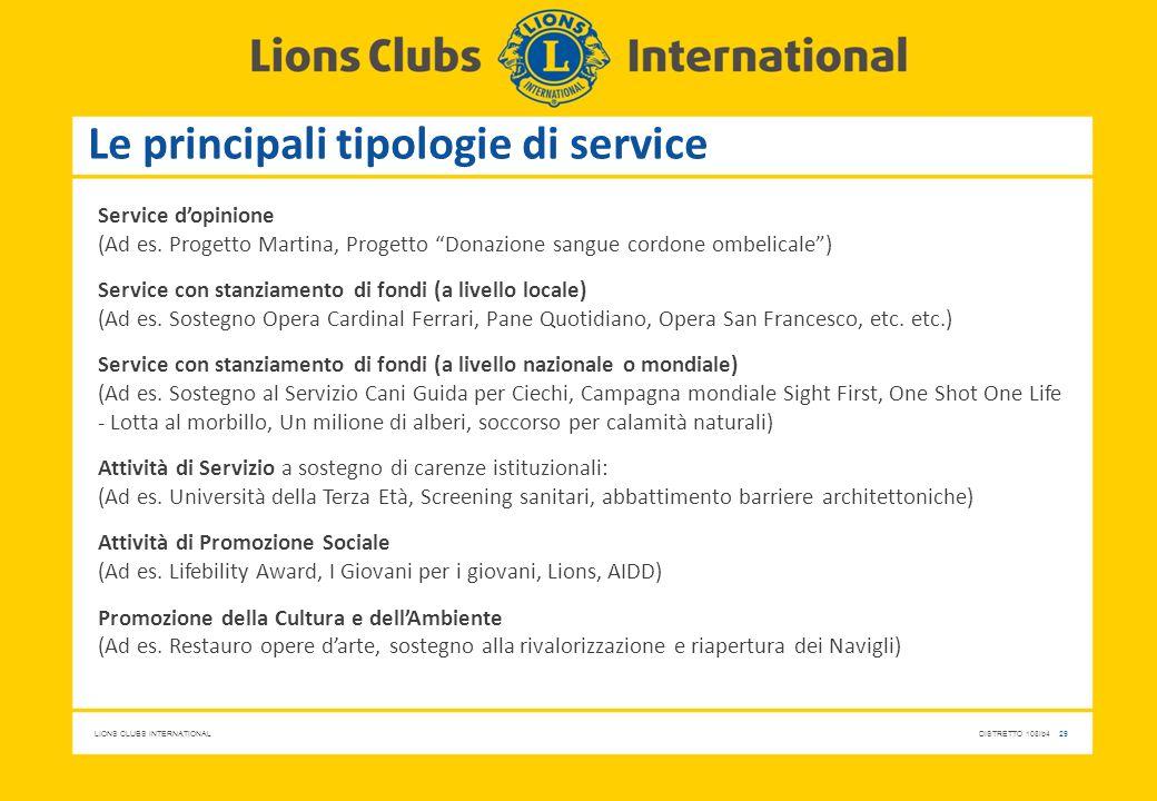 """LIONS CLUBS INTERNATIONALDISTRETTO 108Ib4 29 Le principali tipologie di service Service d'opinione (Ad es. Progetto Martina, Progetto """"Donazione sangu"""