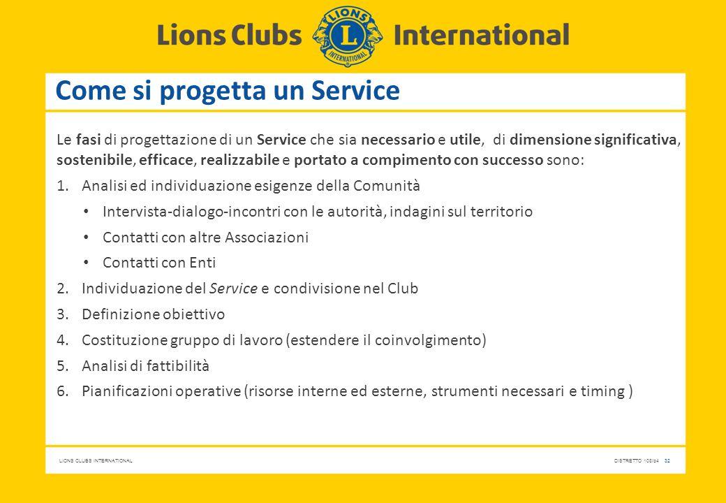 LIONS CLUBS INTERNATIONALDISTRETTO 108Ib4 32 Come si progetta un Service Le fasi di progettazione di un Service che sia necessario e utile, di dimensi