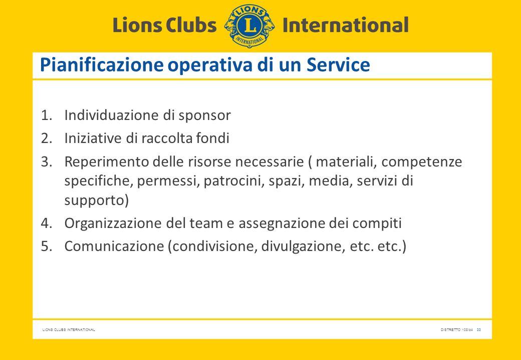 LIONS CLUBS INTERNATIONALDISTRETTO 108Ib4 33 Pianificazione operativa di un Service 1.Individuazione di sponsor 2.Iniziative di raccolta fondi 3.Reper