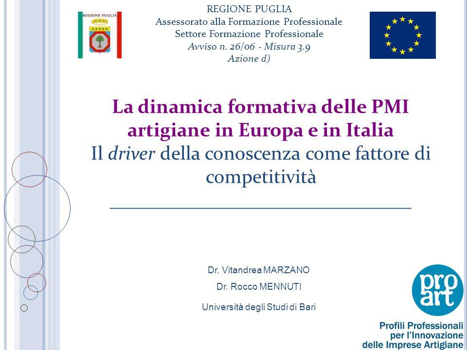 La dinamica formativa delle PMI artigiane in Europa e in Italia Il driver della conoscenza come fattore di competitività _______________________________ Dr.