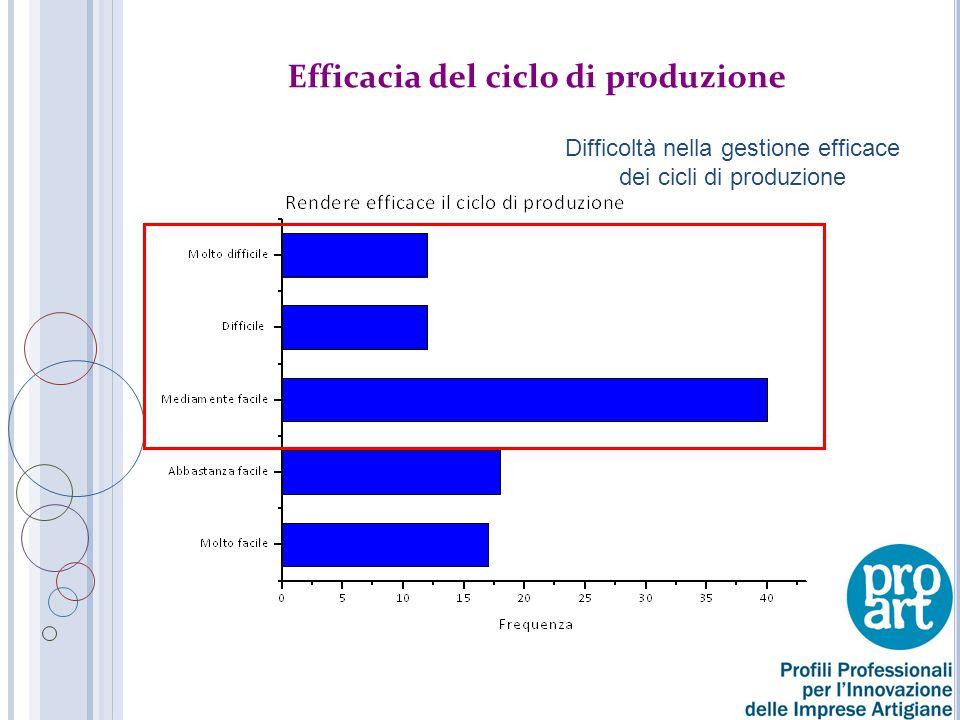 Efficacia del ciclo di produzione Difficoltà nella gestione efficace dei cicli di produzione