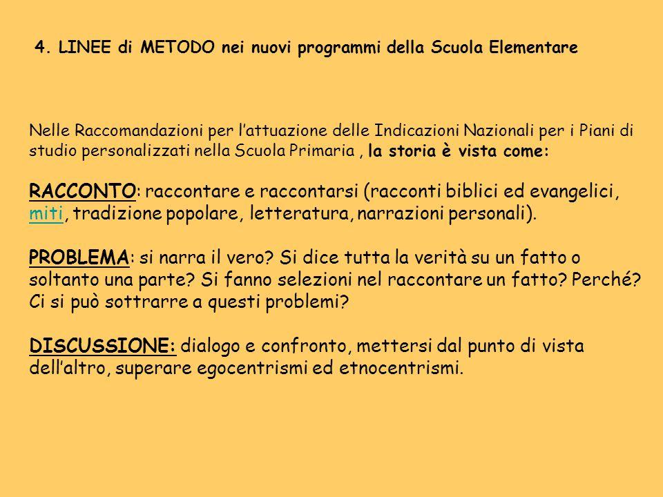 4. LINEE di METODO nei nuovi programmi della Scuola Elementare Nelle Raccomandazioni per l'attuazione delle Indicazioni Nazionali per i Piani di studi