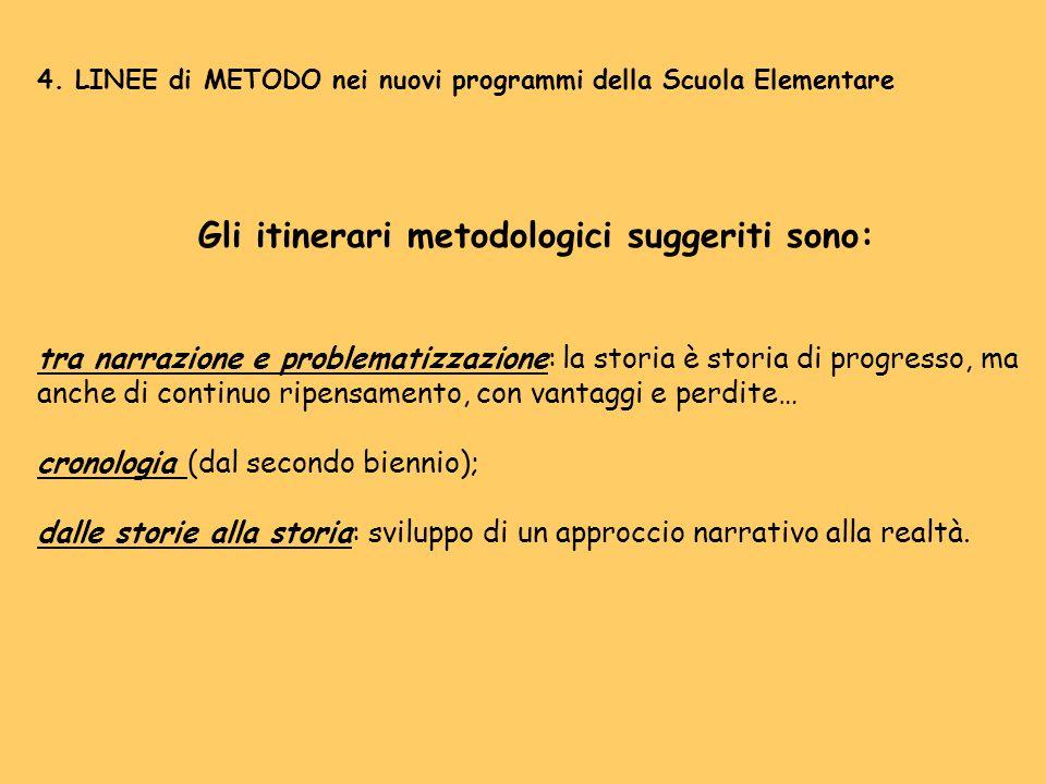 4. LINEE di METODO nei nuovi programmi della Scuola Elementare Gli itinerari metodologici suggeriti sono: tra narrazione e problematizzazione: la stor