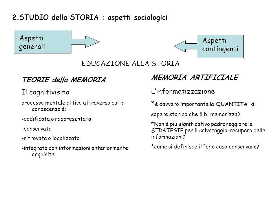 2.STUDIO della STORIA : aspetti sociologici Aspetti generali Aspetti contingenti EDUCAZIONE ALLA STORIA TEORIE della MEMORIA Il cognitivismo processo