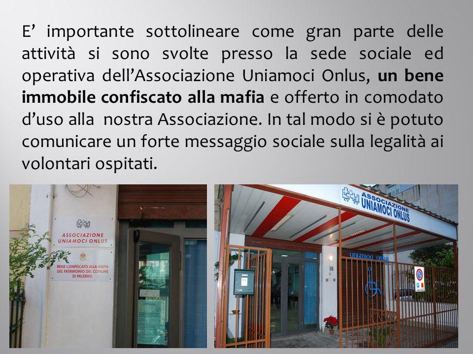 E' importante sottolineare come gran parte delle attività si sono svolte presso la sede sociale ed operativa dell'Associazione Uniamoci Onlus, un bene immobile confiscato alla mafia e offerto in comodato d'uso alla nostra Associazione.