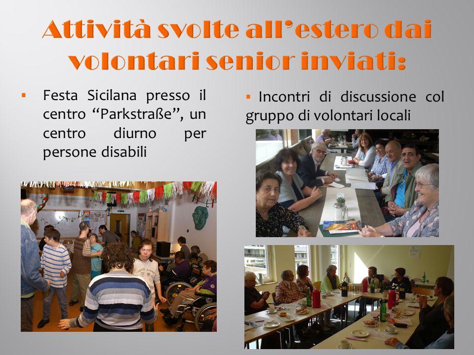  Festa Sicilana presso il centro Parkstraße , un centro diurno per persone disabili  Incontri di discussione col gruppo di volontari locali