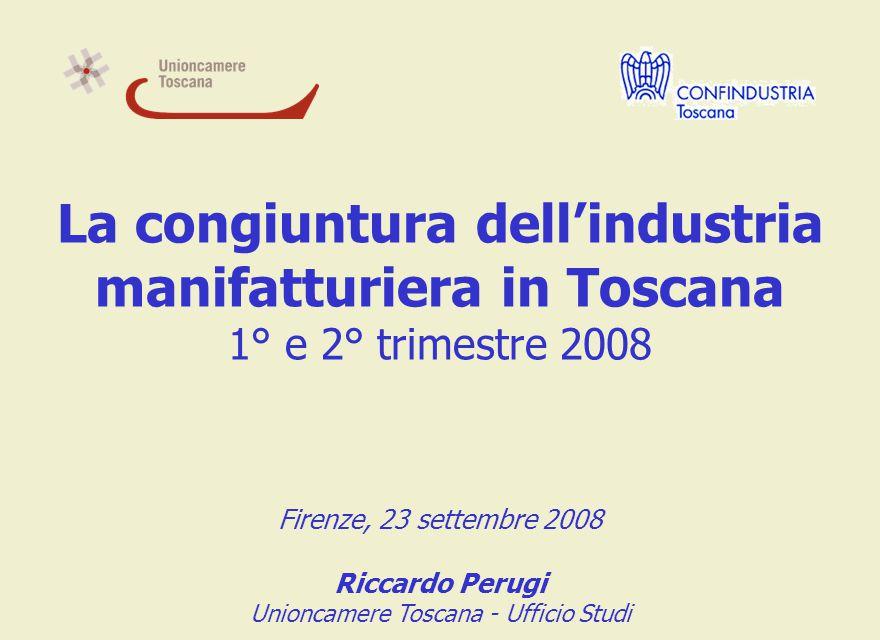 Andamento trimestrale della produzione industriale LA CONGIUNTURA INDUSTRIALE IN TOSCANA L inizio del 2008 segna l ingresso in una nuova fase recessiva, dopo oltre un biennio di risultati favorevoli per l industria toscana