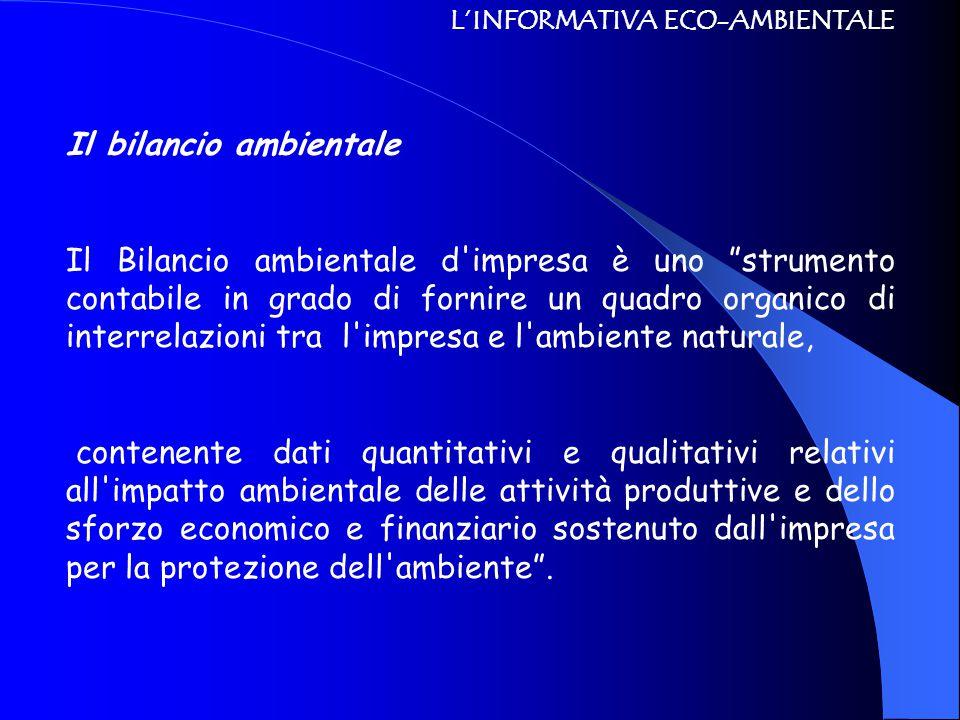 """L'INFORMATIVA ECO-AMBIENTALE Il bilancio ambientale Il Bilancio ambientale d'impresa è uno """"strumento contabile in grado di fornire un quadro organico"""