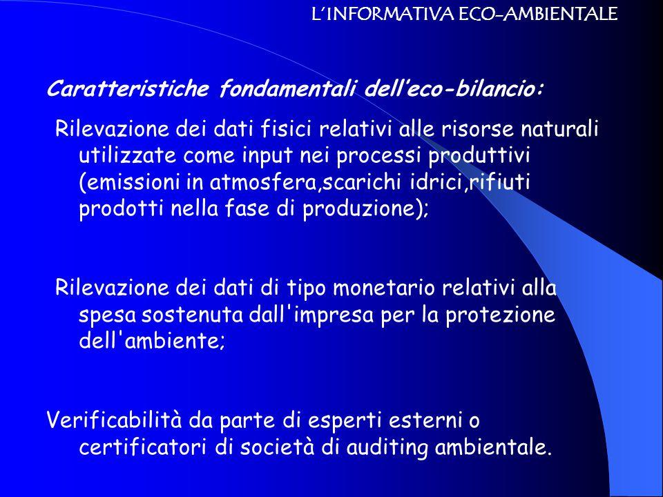 L'INFORMATIVA ECO-AMBIENTALE Caratteristiche fondamentali dell'eco-bilancio: Rilevazione dei dati fisici relativi alle risorse naturali utilizzate come input nei processi produttivi (emissioni in atmosfera,scarichi idrici,rifiuti prodotti nella fase di produzione); Rilevazione dei dati di tipo monetario relativi alla spesa sostenuta dall impresa per la protezione dell ambiente; Verificabilità da parte di esperti esterni o certificatori di società di auditing ambientale.