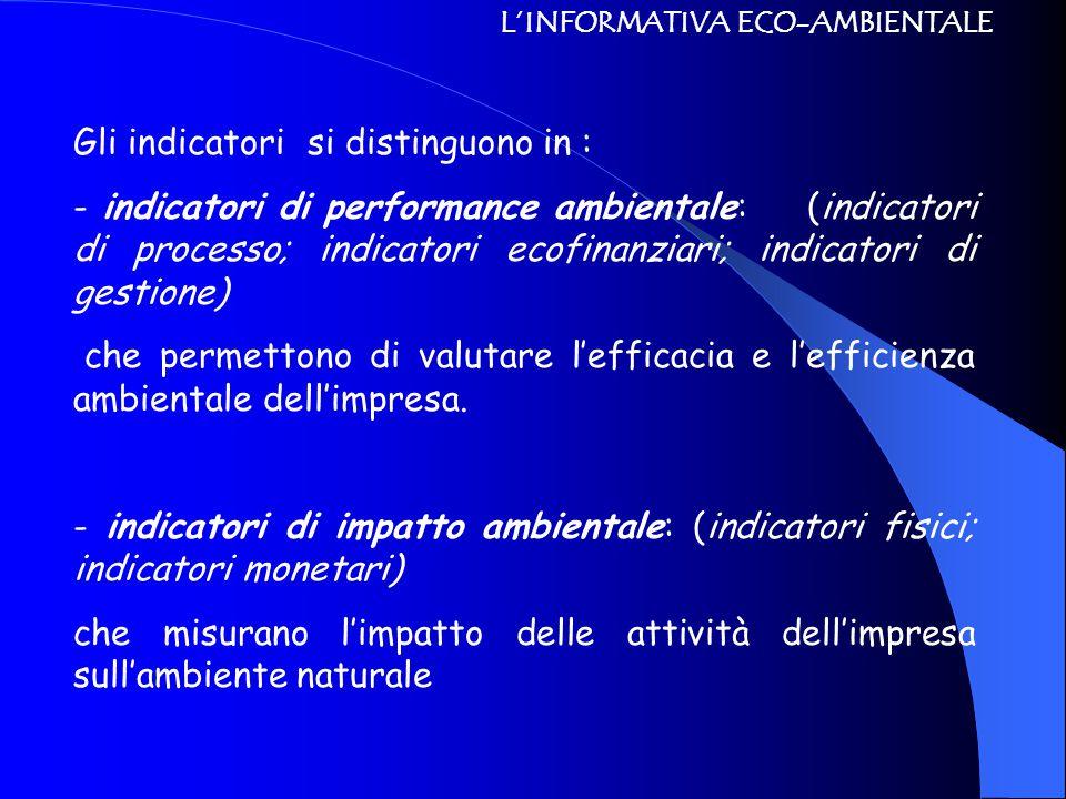 L'INFORMATIVA ECO-AMBIENTALE Gli indicatori si distinguono in : - indicatori di performance ambientale: (indicatori di processo; indicatori ecofinanzi