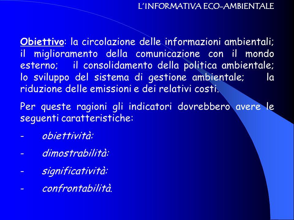 L'INFORMATIVA ECO-AMBIENTALE Obiettivo: la circolazione delle informazioni ambientali; il miglioramento della comunicazione con il mondo esterno; il c