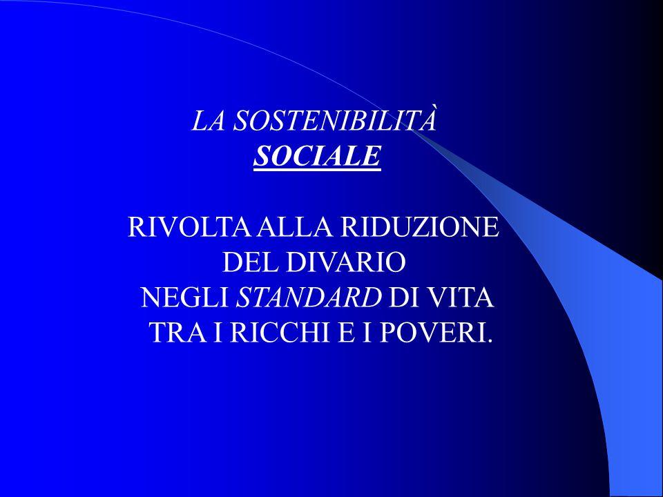 LA SOSTENIBILITÀ SOCIALE RIVOLTA ALLA RIDUZIONE DEL DIVARIO NEGLI STANDARD DI VITA TRA I RICCHI E I POVERI.