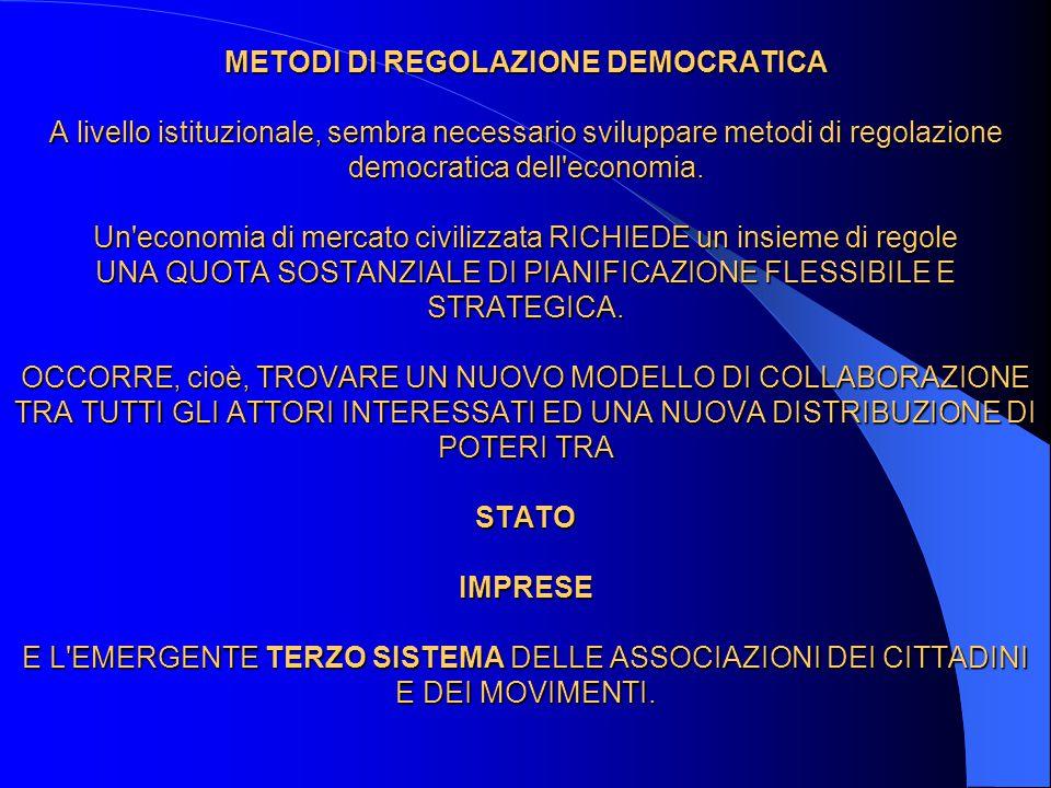 METODI DI REGOLAZIONE DEMOCRATICA A livello istituzionale, sembra necessario sviluppare metodi di regolazione democratica dell'economia. Un'economia d