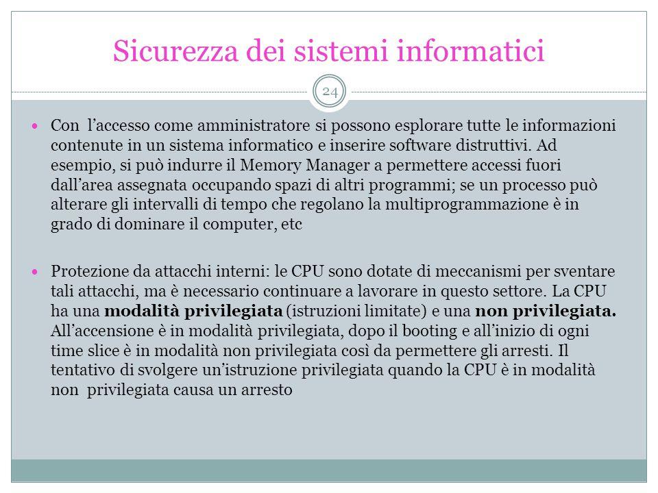 Sicurezza dei sistemi informatici Con l'accesso come amministratore si possono esplorare tutte le informazioni contenute in un sistema informatico e inserire software distruttivi.