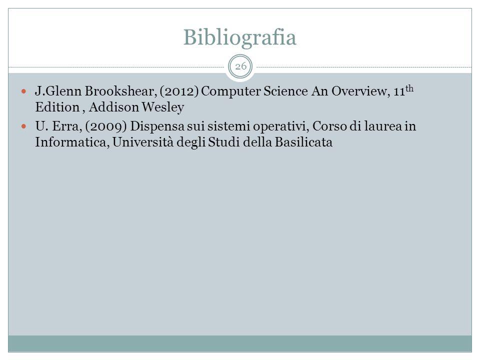 Bibliografia J.Glenn Brookshear, (2012) Computer Science An Overview, 11 th Edition, Addison Wesley U.