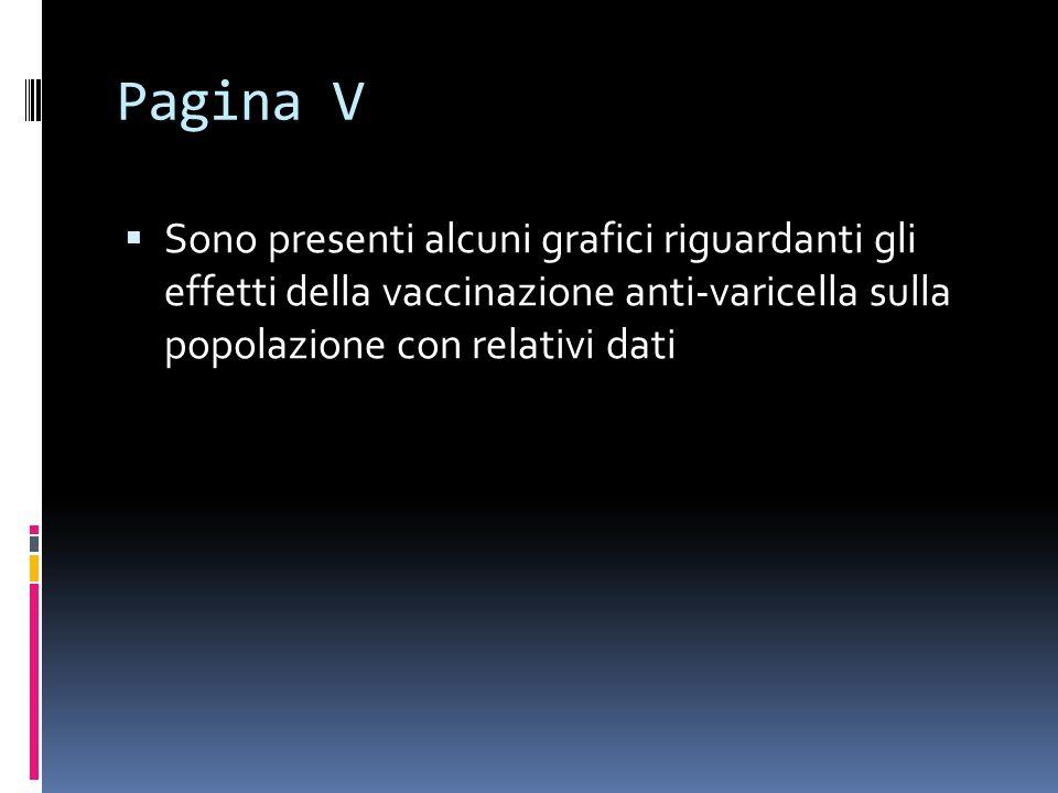 Pagina V  Sono presenti alcuni grafici riguardanti gli effetti della vaccinazione anti-varicella sulla popolazione con relativi dati