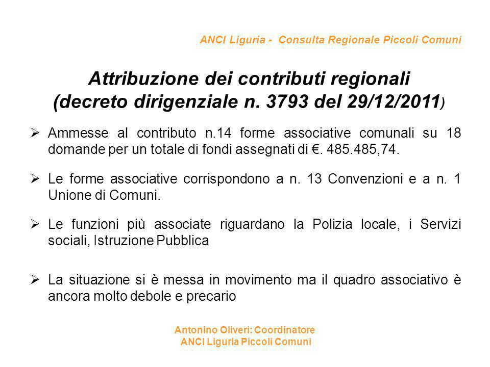 ANCI Liguria - Consulta Regionale Piccoli Comuni Attribuzione dei contributi regionali (decreto dirigenziale n. 3793 del 29/12/2011 )  Ammesse al con
