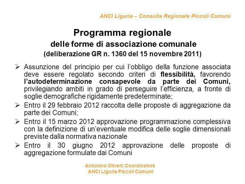 ANCI Liguria – Consulta Regionale Piccoli Comuni Programma regionale delle forme di associazione comunale (deliberazione GR n. 1360 del 15 novembre 20