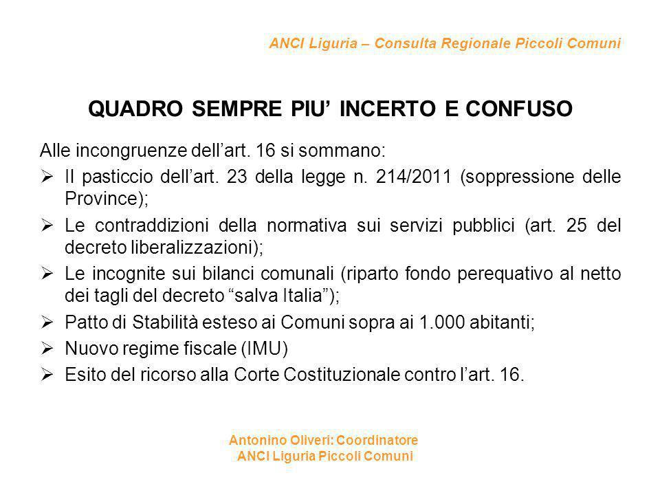 ANCI Liguria – Consulta Regionale Piccoli Comuni QUADRO SEMPRE PIU' INCERTO E CONFUSO Alle incongruenze dell'art. 16 si sommano:  Il pasticcio dell'a
