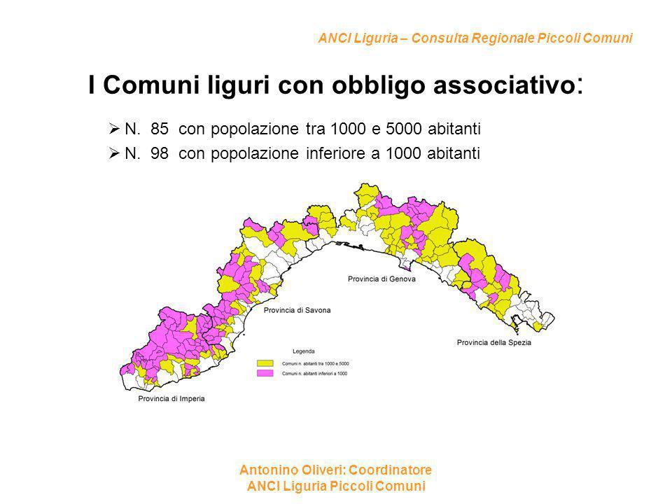ANCI Liguria – Consulta Regionale Piccoli Comuni I Comuni liguri con obbligo associativo :  N. 85 con popolazione tra 1000 e 5000 abitanti  N. 98 co