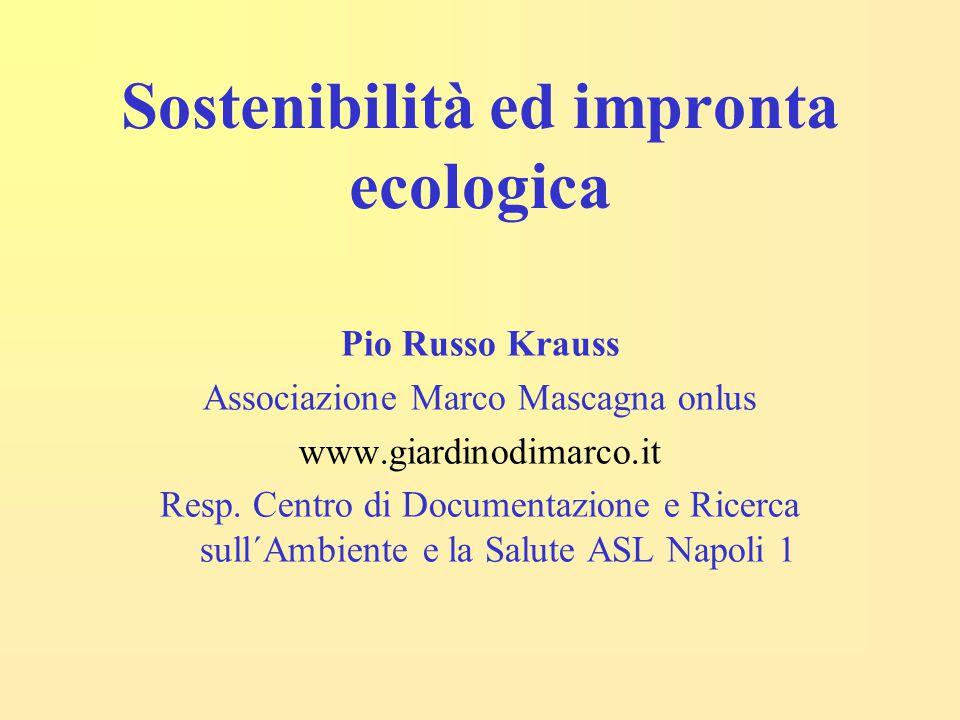 Sostenibilità ed impronta ecologica Pio Russo Krauss Associazione Marco Mascagna onlus www.giardinodimarco.it Resp. Centro di Documentazione e Ricerca
