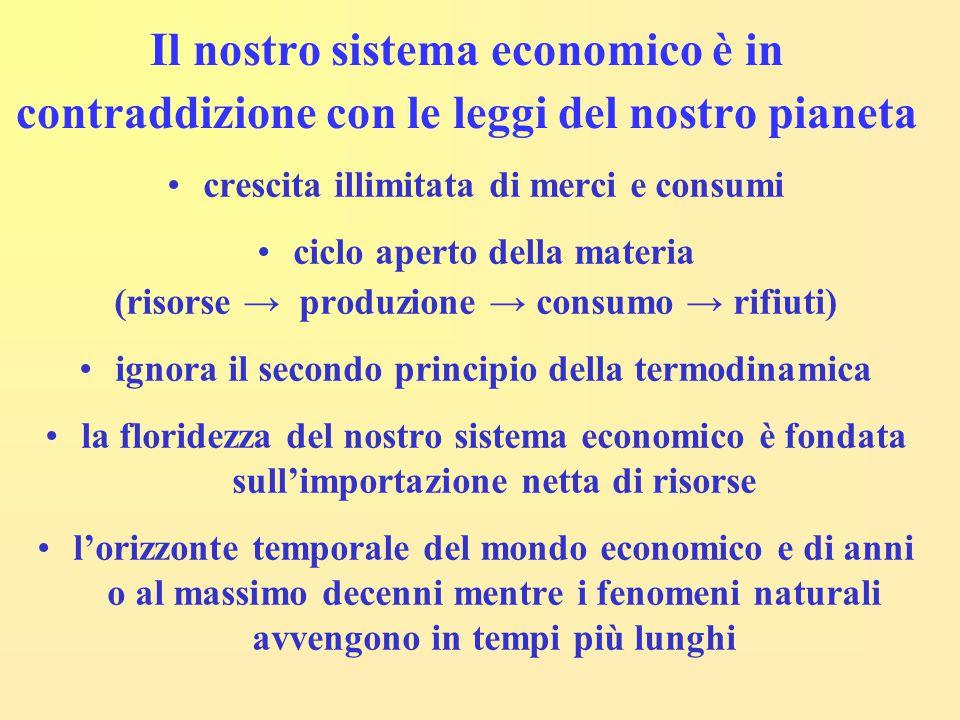 Il nostro sistema economico è in contraddizione con le leggi del nostro pianeta crescita illimitata di merci e consumi ciclo aperto della materia (ris