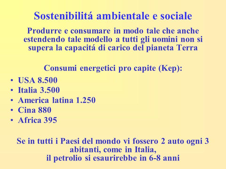Sostenibilitá ambientale e sociale Produrre e consumare in modo tale che anche estendendo tale modello a tutti gli uomini non si supera la capacitá di