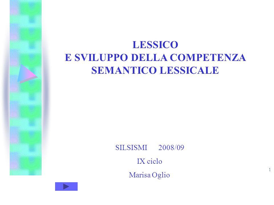 SILSISMI 2008/09 IX CICLO Marisa Oglio LESSICO E SVILUPPO DELLA COMPETENZA SEMANTICO LESSICALE SILSISMI 2008/09 IX ciclo Marisa Oglio