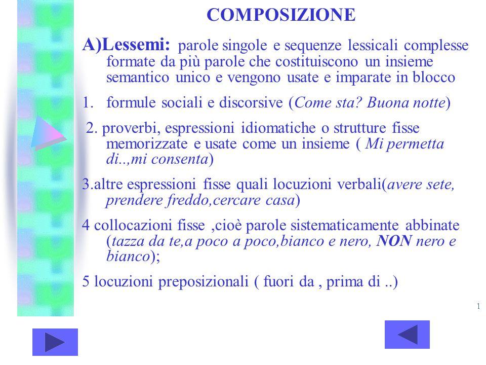 COMPOSIZIONE A)Lessemi: parole singole e sequenze lessicali complesse formate da più parole che costituiscono un insieme semantico unico e vengono usa