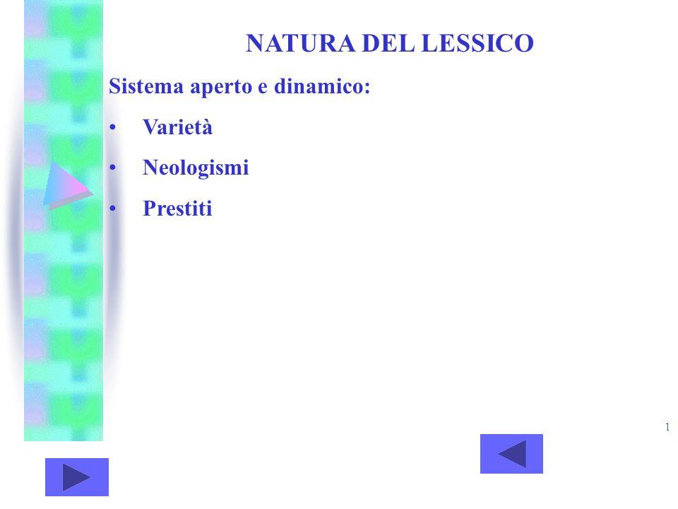 NATURA DEL LESSICO Sistema aperto e dinamico: Varietà Neologismi Prestiti