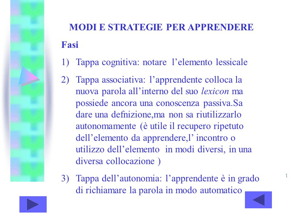 MODI E STRATEGIE PER APPRENDERE Fasi 1)Tappa cognitiva: notare l'elemento lessicale 2)Tappa associativa: l'apprendente colloca la nuova parola all'int