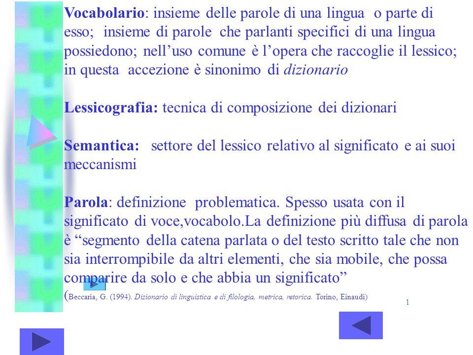 Vocabolario: insieme delle parole di una lingua o parte di esso; insieme di parole che parlanti specifici di una lingua possiedono; nell'uso comune è