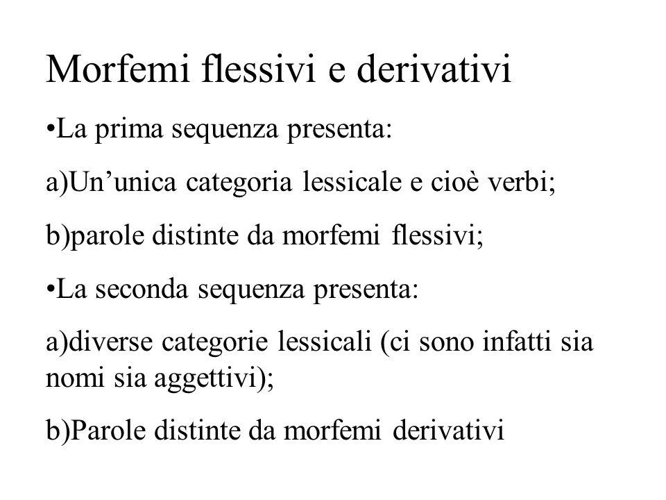 Morfemi flessivi e derivativi La prima sequenza presenta: a)Un'unica categoria lessicale e cioè verbi; b)parole distinte da morfemi flessivi; La secon