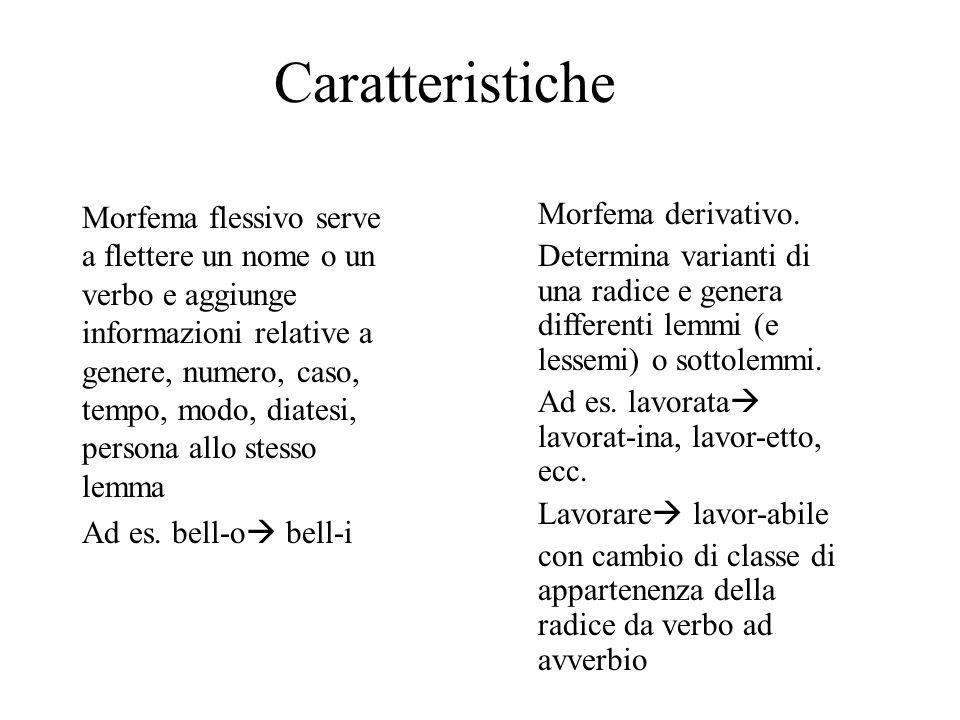 Caratteristiche Morfema flessivo serve a flettere un nome o un verbo e aggiunge informazioni relative a genere, numero, caso, tempo, modo, diatesi, pe