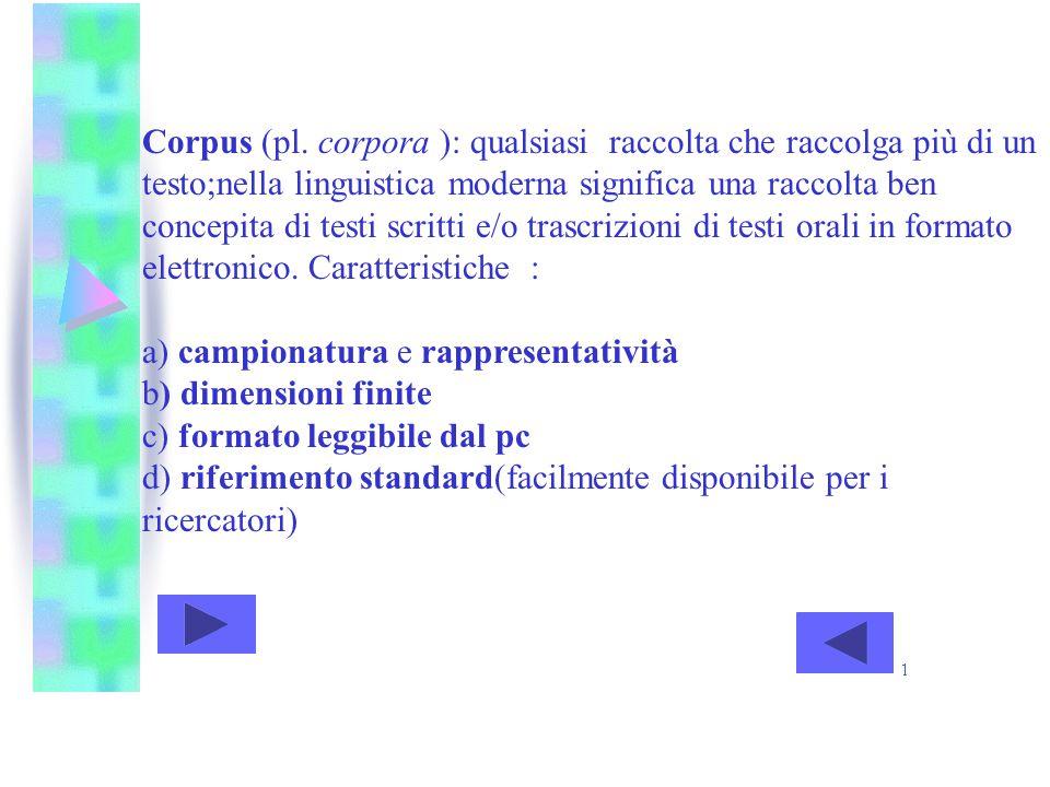 Corpus (pl. corpora ): qualsiasi raccolta che raccolga più di un testo;nella linguistica moderna significa una raccolta ben concepita di testi scritti