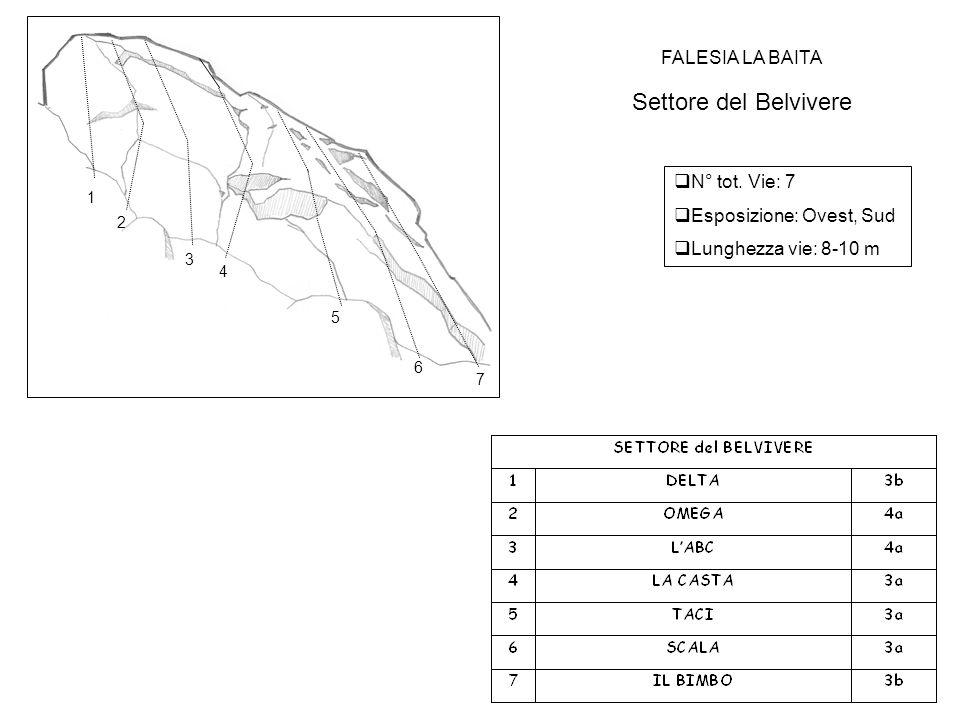 FALESIA LA BAITA Settore del Belvivere  N° tot. Vie: 7  Esposizione: Ovest, Sud  Lunghezza vie: 8-10 m 1 2 3 4 5 6 7