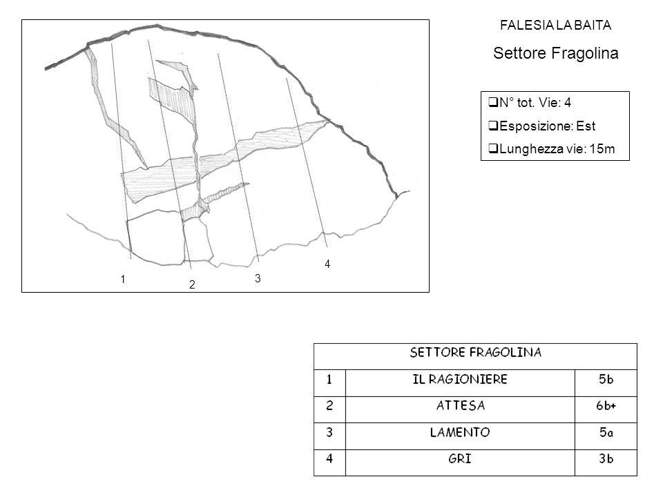 FALESIA LA BAITA Settore Fragolina  N° tot. Vie: 4  Esposizione: Est  Lunghezza vie: 15m 1 2 3 4