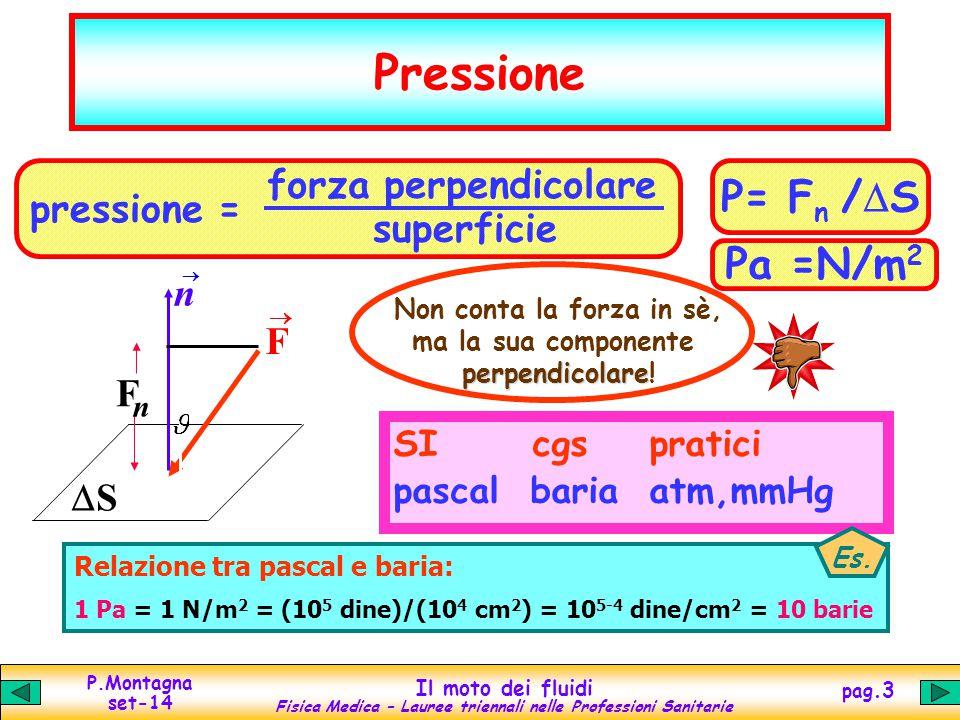 P.Montagna set-14 Il moto dei fluidi Fisica Medica – Lauree triennali nelle Professioni Sanitarie pag.3 Pressione F  SS n  F n P= F n /  S Pa =N/