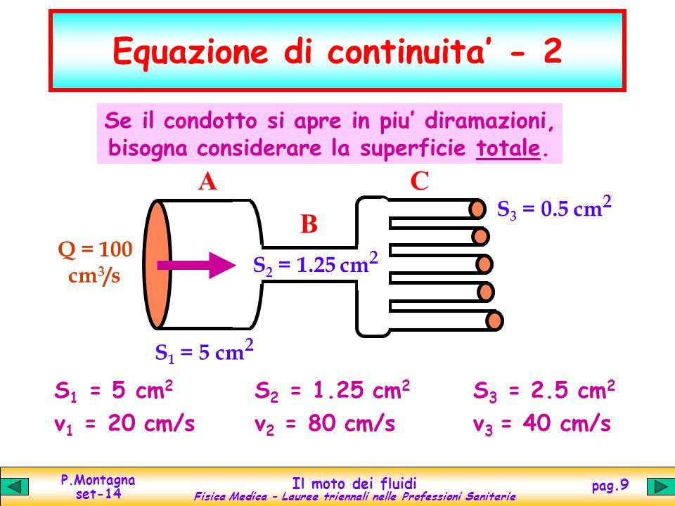 P.Montagna set-14 Il moto dei fluidi Fisica Medica – Lauree triennali nelle Professioni Sanitarie pag.9 Equazione di continuita' - 2 S 1 = 5 cm 2 v 1
